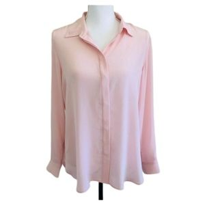 Banana Republic Dillon Washable Silk Shirt Pink M